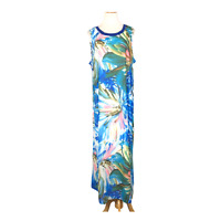 Soft Surroundings Size XL Dress Sleeveless Blue Long Maxi Floral Abstract Paint