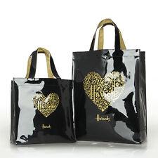 Harrods Gold Heart Black PVC Tote Bag Top-handle Casual Shopper Handbag Stylish