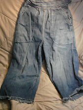 Vintage WWII USN NAVY WAVES Women's Side Button Jeans CUT OFFS Buckle