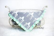 NEW Baby Newborn Minky Receiving Blanket Girls Boys 32x32 Inches Deer Grey Mint