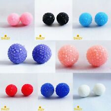 CUTE STUD EARRINGS SPARKLY STUD EARRINGS ROUND DISCO BALL EARRINGS 8 COLOURS