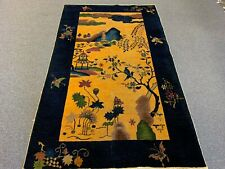 New listing Art Deco Antique Chinese Nichols Handmade Wool Rug 4.1 X 6.7