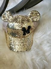 Kids M Mickey Mouse Hat Gold Sequins Bling Disney Style Ears Disney Style Hat