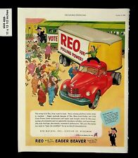 1952  REO Moving Truck Pulling Power Eager Beaver Car Vintage Print ad 14581