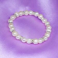 B610  Perlenarmband echte Süßwasserzuchtperlen 8mm Armreif Perlenschmuck