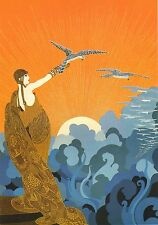 """CLASSIC ERTE ART DECO BOOK PRINT """"WINGS OF VICTORY"""" GOWNED WOMAN WITH FALCON"""