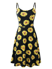 UK Womens Strappy Cami Dress Holiday Tropical Floral Swing Mini Ladies SunDress
