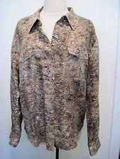 CHICO'S Brown Silk Blend Reptile Snake Skin Print Button Down Shirt Shirt Size 2
