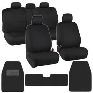 Classic Black Cloth Car Seat Covers w/ Carpet Floor Mats for Auto Rug XL