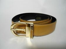Vintage BALLY Tan Soft Leather Belt with Gold Buckle Size 32/80 Men's