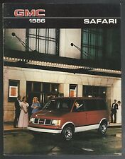 1986 GMC SAFARI Brochure, 20 page, Canadian GM Safari mini van