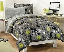 Bedding Sets Twin For Boys Skateboarding Extreme Comforter 180Tc Sheets Gray New