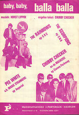 SCORPIONS/CHUBBY CHECKER - BABY,BABY, BALLA BALLA (SHEET MUSIC HOLLAND 1965)