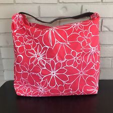 Neiman Marcus Beach Tote/Bag Signature Floral Print Leather Strap Teal Lined EUC