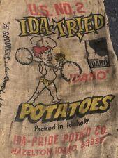 New listing Vintage Ida Tried Potatoes Burlap Potato Sack Bag 100 Lbs Primitive