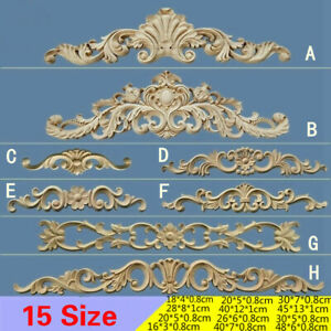 1X Carved Decal Unpainted Wood Applique Door Wall Onlay Frame Corner Decor