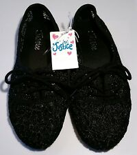 Girls Shoes size 1 Justice Shoes New Black Shear Lace Eyelet Material Non Skid