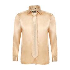 Robelli Men's Diamante Collar & Cuff Satin Dress Shirt & Matching Tie