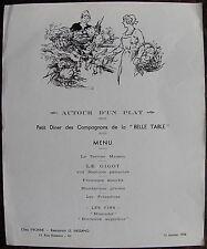 """Georges VILLA: MENU, """" petit diner des compagnons de la BELLE TABLE"""". 1958"""