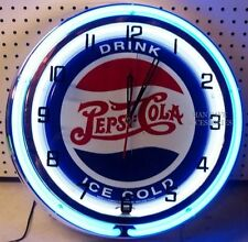 "18"" Drink Ice Cold PEPSI-COLA Sign Double Neon Clock Pepsi"