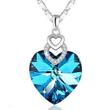 Dainty 3 Hearts Silver Aquamarine Pendant Necklace Jewelry Mother's Day Gift