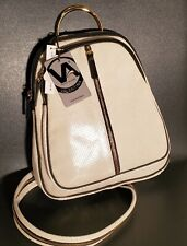 NWT Valentina Italian Made Two Tone Double EntryDome Leather Backpack Bag Pearl