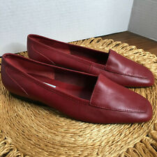 "Capezio Red Leather ""Jenny"" Square Toe Flat Loafer Like Size 7 1/2 Medium"