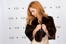 Vintage brown moleskin fur cape 30s 40s evening wear red carpet luxury fur cape