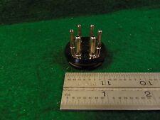 (1) AMPHENOL 6 Pin Tube Base Style Male Plug Flange Mount Hammond Baldwin NOS