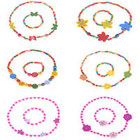 1Set Lovely Cute Wooden Necklace Bracelet Kids Baby Jewelry Gift Party SupplZ bc