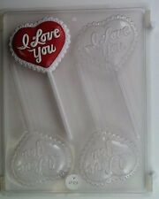 I LOVE YOU LOLLIPOP CLEAR PLASTIC CHOCOLATE CANDY MOLD V057