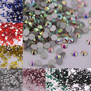 Glitter Crystal AB Flatback Clear Non Hot Fix Nail Art Rhinestones Decorations