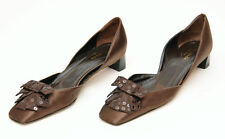 KATE SPADE NY~BROWN SATIN SEQUINS BOW TIE SQUARE TOE HEELS~SIZE 6.5 M~ ITALY