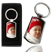 Personalised PHOTO BABY Printed Chrome Metal Keyring with Free Gift Box - 1
