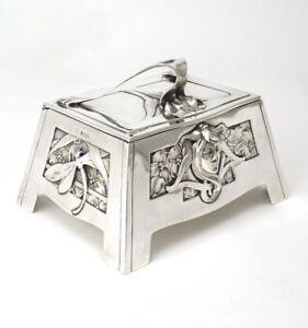 Art Nouveau solid silver sugar box Carl Stock Bruckmann and Söhne 1900 Germany