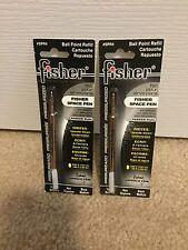 2 Pack Fisher Space Ball Point Pen Refills - Black - Medium Point - SPR4 / PR4