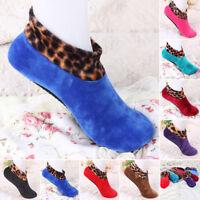 Women Men Slipper Bed Socks Floor Socks Brushed Leopard Print Anti-bacterial