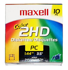 Maxell 3.5 1.44MB IBM MF2HD High Density Preformatted Disk 10-Pack, Colors