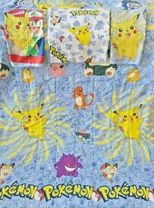 Vintage Pokemon Twin Full Comforter Nintendo 1990s w/ Blanket & Two Pillow Cases