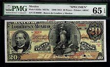 """Mexico RARE $20 Pesos""""SPECIMEN""""El Banco De Londres y Mexico 1913 PMG 65"""