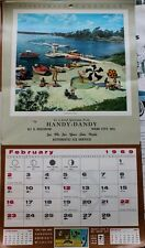 Feburary 1969 Sportsman's Birthday Calendar Holiday Fun At the Lake Cabin Art