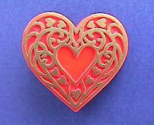 BUY1&GET1@50%~Hallmark PIN Valentines ❤️ HEART GOLD FILIGREE Vtg Holiday Brooch