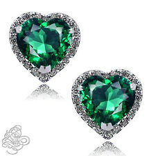 1.89 CT HALO HEART EMERALD STUD EARRINGS 14K WHITE GOLD COVERED SILVER SAPPHIRE