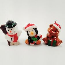 VTG Russ Christmas Snowman Penguin Teddy Bear Holiday  Mini Candles 3 Piece Lot