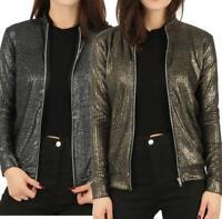 Womens Ladies Foil Ribbed Metallic MA1 Bomber Jacket Long Sleeve Zip Biker Coat