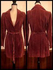 Rocker Leather Suede Coat Rockabilly Fitted Trench Western Soft Dark Pink Belt S