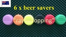 6 x Coloured Beer Savers, Top, Lid, Re-usable, Airtight, Silicone, Colours
