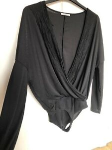 Zara Small Black Ribbed Long Sleeve Lace Draped Clubbing Sexy Party Bodysuit