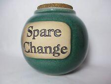 Spare Change Green Ceramic Pottery Round Money Coin Jar Jug w/Cork Lid - Bar Art