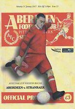 Aberdeen v Stranraer 21/01/17 Scottish Cup + Team Sheet